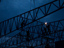 Silhouette People heavy industrial sector construction worker Stock Photo