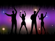 Silhouette People Indicates Disco Dancing And Celebration Royalty Free Stock Images