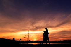 Silhouette of people jogging for exercise Royalty Free Stock Photography