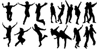Silhouette people jumping dance Stock Photos