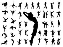 Silhouette people jumping dance Stock Photography