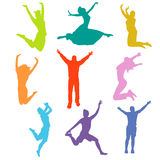 Silhouette people jumping Royalty Free Stock Images