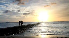 Ocean Pier Golden Sunset Setting. stock video footage