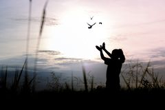 Silhouette people making hand as bird and release birds. To be freedom and free royalty free stock photo