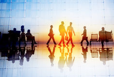 Silhouette People Meeting Cityscape Team Concept Royalty Free Stock Images