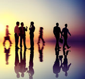 Silhouette People Meeting Cityscape Team Concept Stock Photos