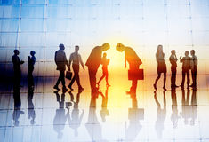 Silhouette People Meeting Cityscape Team Concept Royalty Free Stock Photo