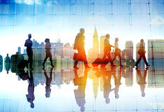 Silhouette People Meeting Cityscape Team Concept Stock Photo