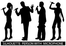Silhouette  people with microphone Stock Photo