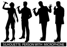 Silhouette  people with microphone Royalty Free Stock Photography