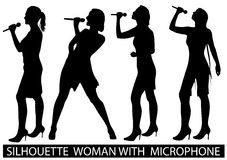 Silhouette  people with microphone Stock Images