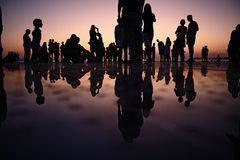 Silhouette of people outdoors at sunset Stock Images