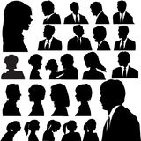 Silhouette People Portraits Heads Faces stock illustration