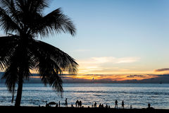 Silhouette people relax on the beach with color of sunset Stock Image