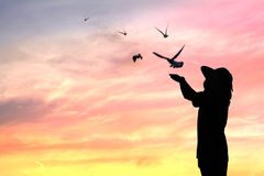 Silhouette people release birds to be freedom. And free stock photos