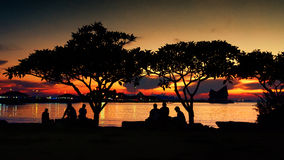 Silhouette of people rest in park Royalty Free Stock Photos