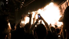 Silhouette people rock show. A crowd shadow of people at during a concert Royalty Free Stock Image