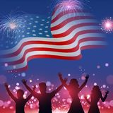 Silhouette of people`s character enjoying on wavy American flag with bokeh fireworks background. Silhouette of people`s character enjoying on wavy American flag vector illustration