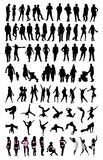 Silhouette people set. Isolated silhouettes on the white background Royalty Free Stock Photography