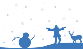 Silhouette of people snowman and deer Christmas Royalty Free Stock Images
