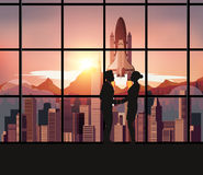 Silhouette people with Space Shuttle Royalty Free Stock Photo