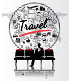 Silhouette people with travel concept Stock Images