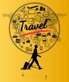 Silhouette people with travel concept Stock Photos