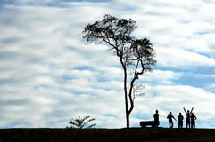Silhouette people and tree Royalty Free Stock Image