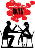 Silhouette people, valentine's day, man and woman couple, lover pair, romantic day vector illustration