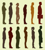 Silhouette of People Waiting in Line Stock Image