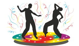 Silhouette of people who dancing on disco Stock Images