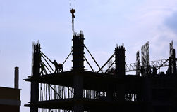 Silhouette of people working and building construction Royalty Free Stock Image