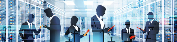 Silhouette People Working In Data Center Room Hosting Server Computer Information Database. Flat Vector Illustration Stock Photography