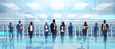 Silhouette People Working In Data Center Room Hosting Server Computer Information Database. Flat Vector Illustration Royalty Free Stock Photos