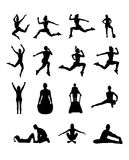 Silhouette of people working out vector Royalty Free Stock Image