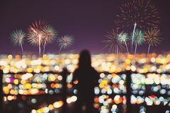 Silhouette of peoples enjoy watching firework Royalty Free Stock Images