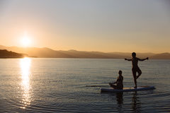 Silhouette of perfect couple engage standup paddle boarding Royalty Free Stock Image