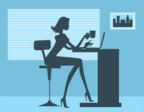 Silhouette of perfect office woman Stock Photography