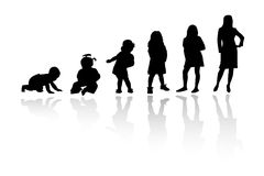 Silhouette person. Vector silhouette girls and babies ,  illustration Royalty Free Stock Photo