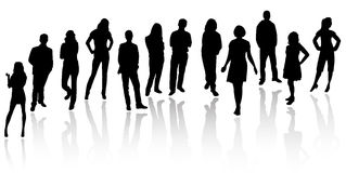 Silhouette person. Isolated silhouettes on the white background Stock Photos