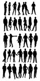 Silhouette person. Isolated silhouettes on the white background Royalty Free Stock Photo