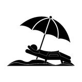 Silhouette person in beach chair with umbrella Royalty Free Stock Photos