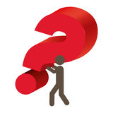 Silhouette person carrying question mark. Illustration Royalty Free Stock Photography