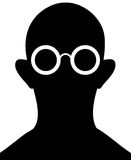 Silhouette of person with eyeglasses - vector. Silhouette of man with glasses on a white background - a simple vector drawing Stock Photos