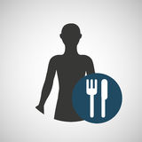 Silhouette person food icon design Stock Images