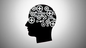 Silhouette of a person with gears Royalty Free Stock Photos