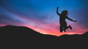 Silhouette of Person Jumping Royalty Free Stock Photo