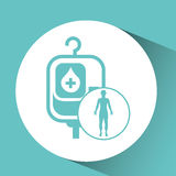 Silhouette person medical bag blood icon design Royalty Free Stock Images