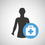 Silhouette person medical first aid icon design. Vector illustration eps 10 Royalty Free Stock Images