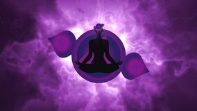 Silhouette of the person meditating activate theThird eye chakra